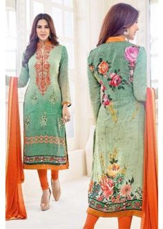 Green Georgette Churidar Suit, - £70.00, #Fashionable #Dresses #DesignerSuit #Shopkund