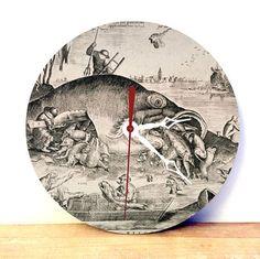 Wood Wall Clock  Fish Art Wall Clock  Medievil Art by JDzigner