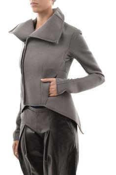 Rick Owens Lilies New Woman Gray Asymmetric Zip Neoprene Jacket Coat Size 46 It | eBay