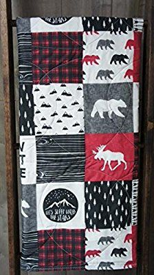 Baby Boy Hunting Quilt , Baby Quilt , Woodland , Deer , Moose , Arrow , Chevron , Baby Bedding , Crib Bedding , Babylooms