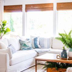 Modern Boho Farmhouse Style Simple Summer Home Tour – Living Room Farmhouse Design, Modern Farmhouse, Farmhouse Style, Farmhouse Decor, Country Style, Summer Mantel, Rooms For Rent, Blue Home Decor, Modern Boho