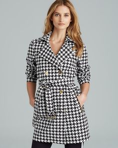 White and Black Houndstooth Coat by MICHAEL Michael Kors. Buy for $195 from Bloomingdale's