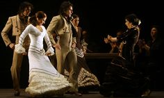Eva Yerbabuena (right) and flamenco dancers perform her choreography Lluvia (Rain) during a rehearsal in Madrid. Photograph