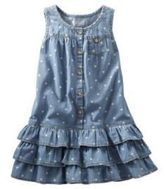 This OshKosh B'gosh CHAMBRAY TIERED DRESS is a classic Chambray Dress with girly girl Bold Ruffles and polka dots.
