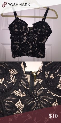 sexy black lace crop top sexy black and nude lace top. straps are adjustable. fully lined. zippers in the back. only worn a few times. only selling because i'm running out of space! Charlotte Russe Tops Crop Tops