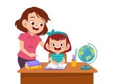 Happy kid girl studying | Premium Vector
