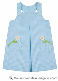 Florence Eiseman Girls Turquoise Checks Seersucker Sleeveless Dress with Flowers