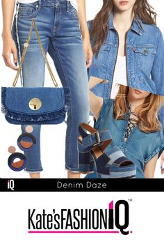 DENIM DAZE. You can never have enough denim. I love all of the new styles coming out for Spring, like these cropped jeans. I never mind a little denim on denim as well. Take this lace-up denim top and pair it back to jeans or shorts. Have some fun and go matchy matchy with this fabulous denim crossbody bag and colorful denim sandal. A must have for your wardrobe is a denim jacket which will never go out of style. @Localmomscoop #katesiq #katesfashioniq