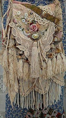 Handmade Vintage Lace Cross Body Bag Hippie Crochet Boho Hobo Fringe Bag tmyers