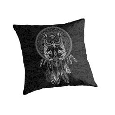 indian native Owl Dream catcher Throw Pillows case #Pillow #PillowCase #PillowCover #CostumPillow #Cushion #digital #colored #pencil #pattern #vintage #blackwhite #ravenclaw #hawk #eagle #animal #bird #tattoo #mayan #indian #americannative
