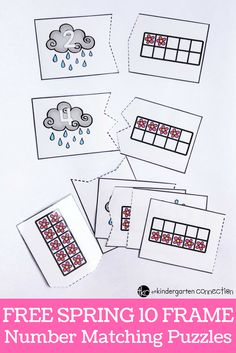 Work on counting, number recognition, and one to one correspondence with these fun, spring-themed ten frame puzzles and recording sheet! Color Word Activities, Math Activities For Kids, Spring Activities, Math For Kids, Fun Math, Math Games, 10 Frame, Ten Frames, Kindergarten Math