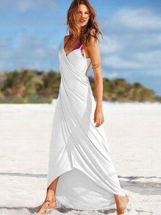 maxi wrap dress bathing suit cover up | Maxi Wrap Cover-up Dress - VS