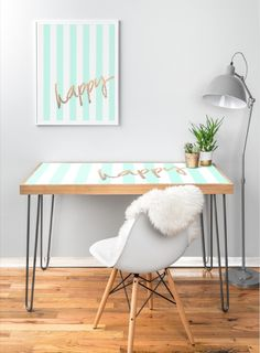 Hard at work or hardly working? It turns those late nights on the job into one big office party. With an eco-friendly flat grain amber bamboo wood frame, steel hairpin legs and a printed aluminum top that not only showcases the art of your choice but also doubles as a dry-erase board. By Monika Strigel for Deny Designs  #mint #stripes #happy #gold #glitter #desk #workspace #fresh #beachdecor #cute #teenroom