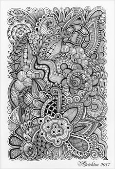 Zentangle art, liner, Viktoriya Crichton. (blackandwhite)