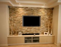 industrial style feature walls with tv - Google Search