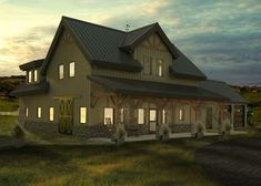 Pole barn houses can either have a simple or complex design. When choosing the barn house design, it is wise to take your time before making a decision. Barn House Kits, Barn House Design, Pole Barn House Plans, Barn Plans, Barn Houses, Barn Kits, Barn Garage, Garage Plans, Garage Ideas