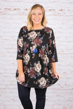 Forever Floral Tunic, Black
