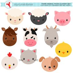 Searching for the perfect farm clipart items? Shop at Etsy to find unique and handmade farm clipart related items directly from our sellers. Animal Heads, Animal Faces, Farm Party, Cat Face, Farm Animals, Goats, Giraffe, Clip Art, Etsy