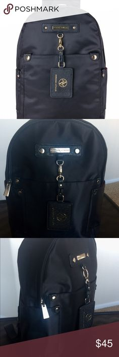"""NWOT Adrienne Vittadini Travel Backpack Sleek and chic Adrienne Vittadini backpack in black with silver hardware. New without tags. Outside material is nylon. Exterior has two side slip pockets and removable ID card holder. Bright red interior makes it easy to find your items, offers light padding to protect your electronics, and has one zip pocket for small items.  Approximate dimensions: 15.5"""" high 11.5"""" wide 4.5"""" deep  Comes from a smoke-free and pet-free home. Adrienne Vittadini Bags…"""
