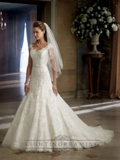 A-line Cap Sleeves V-neck and V-back Wedding Dress