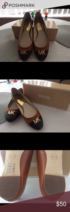 Michael kors flats worn twice chocolate/caramel MK flats great condition Michael Kors Shoes Flats & Loafers