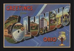 Greetings from Columbus, Ohio (Blue/Purple/White Trim) - Vintage Halftone (24x15 Giclee Art Print, Gallery Framed, Black Wood), Multi