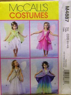 MCCALLS-PATTERN-4887-GIRLS-FAIRY-COSTUMES-SIZES-2-3-4-5-UN-CUT