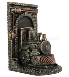 Bronze Steampunk Locomotive Train Out of the Tunnel Bookend ...