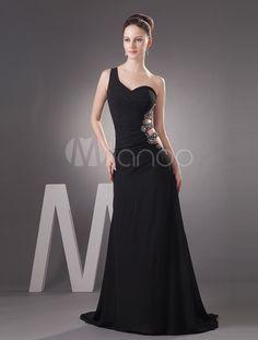 Vestido de fiesta de gasa negra con diamantes de imitación - Milanoo.com