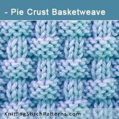 Pie Crust Basketweave Knit Purl Stitch Combinations Free Knitting Pattern i Knit Purl Stitches, Knitting Stiches, Knitting Patterns Free, Free Knitting, Free Pattern, Crochet Patterns, Knit Basket, Basket Weaving, Basket Weave Stitch