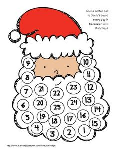 4 super cute ways to count down to Christmas!  Print these for each student or make one for the class!  Choose from Santa's beard, a Christmas tree, candy dish, or cookie plate.  Super cute clip art is included to cover each day:)