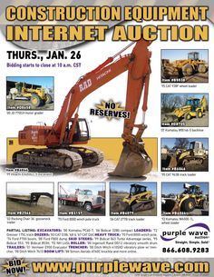 Construction equipment auction  January 26, 2012  http://www.purplewave.com/a/120126