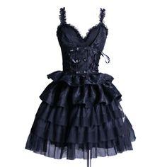 Black Ruffle Sweetheart Dress