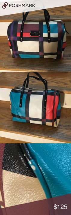 Kate spade color block purse Kate spade multi color block purse with patent black leather handles. Wear shown on some of the piping around purse. Pictured in photo 3.  Length 12 inches 3 3/4 width and 9 inches in height. In good condition kate spade Bags