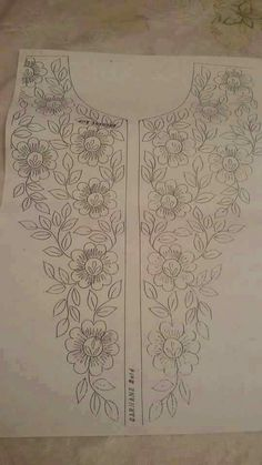 Discover thousands of images about Embroidery designs Embroidery On Kurtis, Embroidery Neck Designs, Tambour Embroidery, Embroidery Transfers, Hand Embroidery Patterns, Embroidery Applique, Embroidery Stitches, Sewing Patterns, Fabric Painting