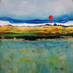 """Contemporary Abstract Landscape Painting- """"Red Moon Rising""""- by artist Cristina Del Sol"""