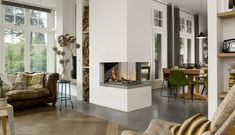 Gashaard van Belfires. Mooie hoekhaard tussen woonkamer en keuken #interieur #haard