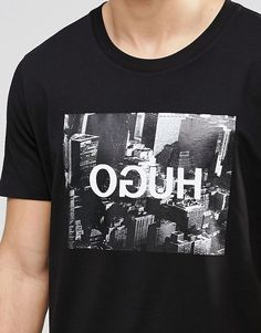 Image 3 ofHUGO by Hugo Boss T-Shirt With OGUH Print In Black