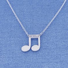 This cute and chic Sterling Silver Name Engraved Music Note Charm Necklace is the perfect gift for anytime of the year. Select any name or initials of your choice to be engraved on this special music note pendant, which is beautifully crafted by solid Sterling Silver fixing on the sturdy Rollo chain. This name engraved pendant in fine quality Sterling Silver is cut out by latest technology laser machine with top quality guaranteed and high polished finish. All the letters are capitalized.