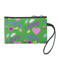#Love-Love Green Hearts Flamingo Key Coin Clutch - #flower gifts floral flowers diy