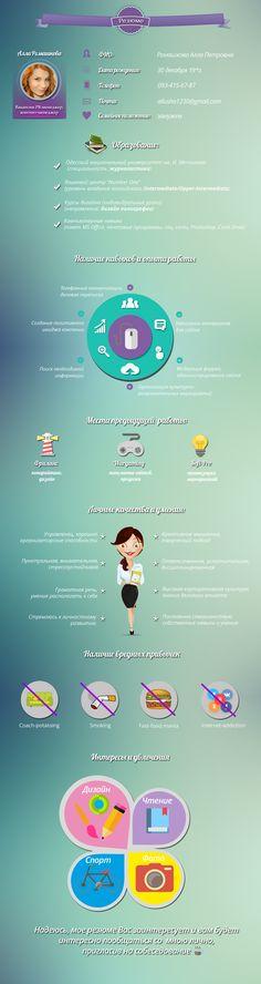 Графическое резюме, но не дизайнера, а PR-менеджера/контент-менеджера Аллы Ромашковой, которая несомненно достойна похвалы уже за одни только свои старания.