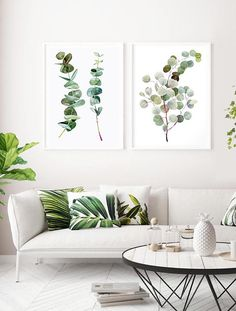 Eucalyptus set printable wall art eucalyptus bouquet printable