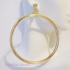 Clip On 3 1 2 Gold Tone X Large Hoop Fashion Non Pierced Earrings B79 Unbranded Pinterest