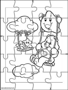 printable jigsaw puzzles to cut out for kids care bears 1 coloring pages