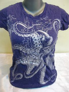 Sure Design Womens Octopus T-Shirt Silver on Grape | Sure Design