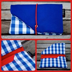 Tobacco Case (blue / blue plaid and red). €15.00, via Etsy.