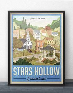 Estrellas huecas cartel - Poster Vintage Travel - inspirado en las chicas Gilmore (Version azul)