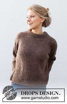 Autumn Pathways Sweater / DROPS 216-12 - Free knitting patterns by DROPS Design Drops Design, Raglan Pullover, Pullover Sweaters, Knitting Patterns Free, Free Knitting, Free Pattern, Crochet Patterns, Sweater Patterns, Laine Drops