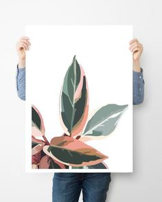 2 Pink and Green Leaves are printed on an archival acid-free cotton paper an Green Wall Art, Green Art, Pink And Green, Painting Inspiration, Art Inspo, Botanical Wall Art, Plant Art, Painting & Drawing, Plant Painting