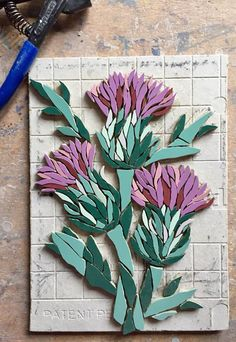 Work in progress - a special mosaic commission of thistles remembering a clients Scottish friend on what would have been her 40th birthday. Fx